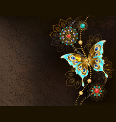 brown background with turquoise butterfly vector image
