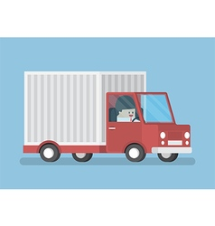 Businessman driving truck transportation vector image