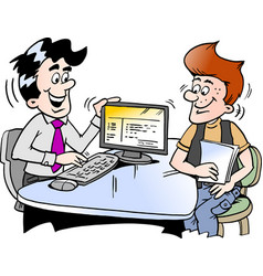 cartoon a young man looking at finance vector image