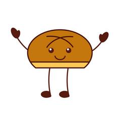 Cartoon bun bread food kawaii funny vector