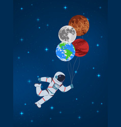Cartoon cosmonaut with planets funny character vector