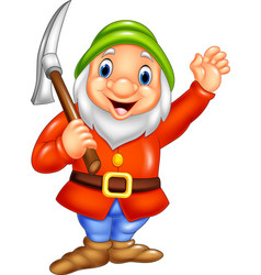cartoon happy dwarf miner vector image