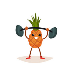 cheerful pineapple holding barbell over his head vector image