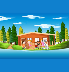 Children and dogs lake scene vector