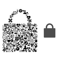 Collage lock from health icons vector