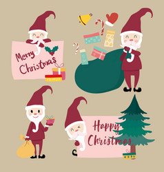 Collection of flat santa clause vector
