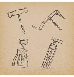 Collection of retro corkscrews vector image