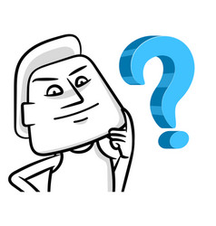 confused white man cartoon concept vector image
