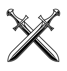 crossed medieval swords on white background vector image