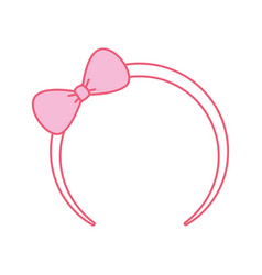 cute pink headband with bow for small girl icon vector image