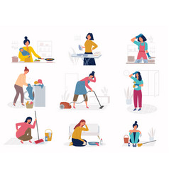 daily housework sad unhappy woman cleaning room vector image