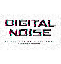 digital noise glitch font tv technology video vector image