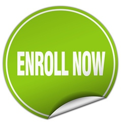 Enroll now round green sticker isolated on white vector