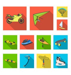 Extreme sport flat icons in set collection for vector