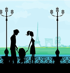 Family in Paris with the Eiffel Tower vector