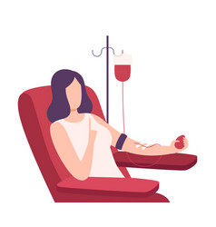 Female donor giving blood in medical hospital vector
