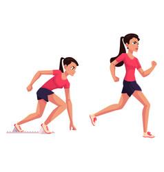 Female runner sprinter jogger ready to start vector