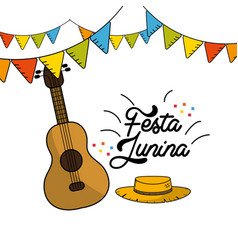 Festa junina with guitar and hat with flags party vector