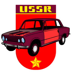 Fictional retro coupe car from ussr 1970s vector