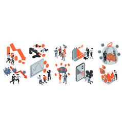 Financial crisis icons set vector