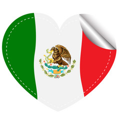 flag of mexico in heart shape vector image