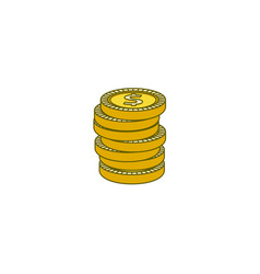 Flat golden dollar cent coins column vector