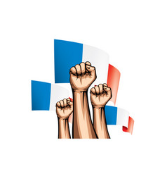 france flag and hand on white background vector image