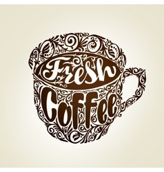 Fresh Coffee Cup with decorative patterns vector