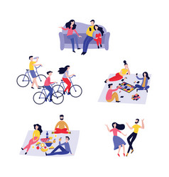 friends spending time together in flat style vector image