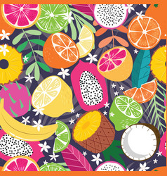 fruit seamless pattern collection exotic fruit vector image