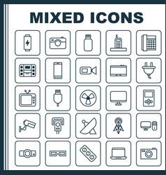 Gadget icons set collection of personal computer vector