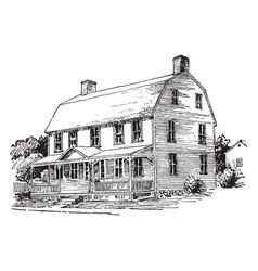 gambrel roof upper part vintage engraving vector image