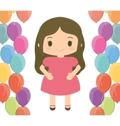 Girl cartoon and happy birthday design vector