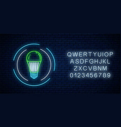 glowing neon sign green led light bulb in vector image