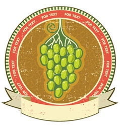 Grapes label with scroll for text on old grunge vector image