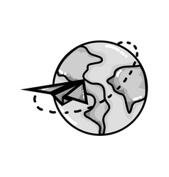 Grayscale global earth planet with paper airplane vector