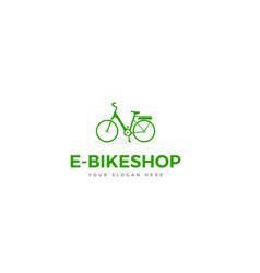 green e-bike logo silhouette woman bike vector image