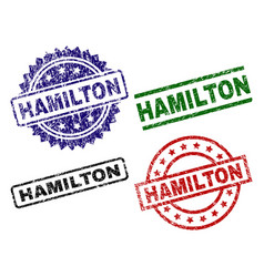 Grunge textured hamilton seal stamps vector