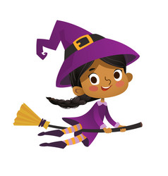 Halloween african-american flying little witch vector