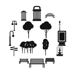 Hangar icons set simple ctyle vector