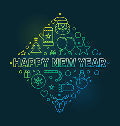 happy new year concept outline colorful vector image