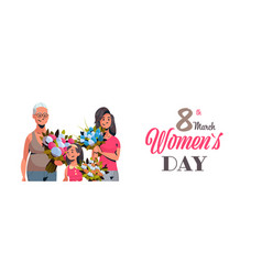 happy three generations women holding bouquet of vector image