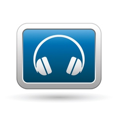 Headphones icon on blue with silver rectangle vector