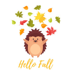 hedgehog tossing autumn colorful leaves vector image