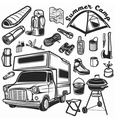 Hiking mountain climbing set and camper car vector