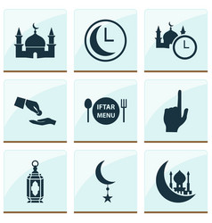 holiday icons set with lantern menu financial vector image