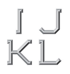 I j k l gray faceted letters prismatic retro vector