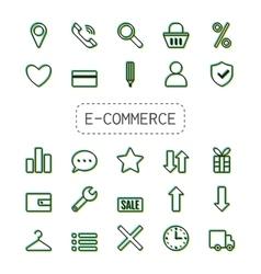 Icon set e-Commerce Flat linear design shopping vector image