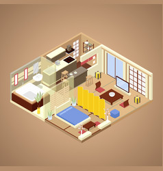 Japanese style apartment interior isometric vector