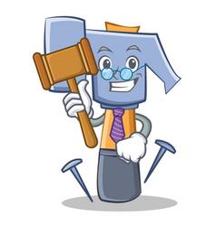 Judge hammer character cartoon emoticon vector
